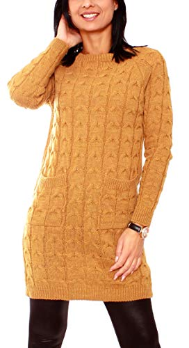 Easy Young Fashion Damen Pullover Lang Pulloverkleid Langarm Pulli Grobstrick Longpullover Minikleid mit Zopfmuster One Size Curry