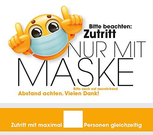 Hinweisschilder Maskenpflicht Abstand halten Motiv Smiley 30 x 20 und 30x5 cm Kunststoff