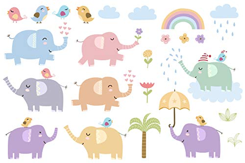 EmmiJules Muurtattoo schattige olifanten voor de kinderkamer - Made in Germany - Jongen meisjes kinderen baby deco dieren bloemen vogel regenboog muursticker