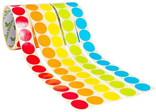 Pacchetto di 1,500pz. (5 rotoli) Etichette di Codifica a Colori Rotonde di 25mm di Diametro su Rotolo, 5 Colori Assortiti - Rosso, Verde, Giallo, Arancione, Blu