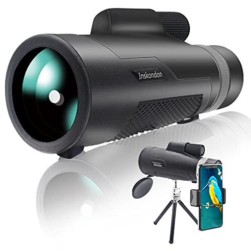 Inskondon Fernrohr Monokular Teleskop 12x50 HD für Erwachsene & Kinder, Monokular Scope BAK-4 Prism FMC Fernrohr Monokular mit Digiscoping Kit Fernrohr Kompakte Handy Teleskop Für Outdoorwanderung