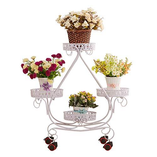 Europese smeedijzer Houten Multi-layer verwijderbare Push Flower Stand Met Wiel Floor Pot Rack Bloemenstandaard-4.4