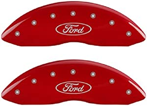 MGP Caliper Covers 10229SFRDRD Ford Oval Logo Type Caliper Cover with Red Powder Coat Finish and Silver Characters, (Set of 4)