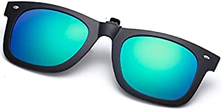 Sun Polarized Clip On Myopia Glasses Clip Near-Sighted Day and Night Driving Vision Lens Anti-UVA Anti-UV Cycling Riding Sunglasses Glasses (Color : Sky Blue)
