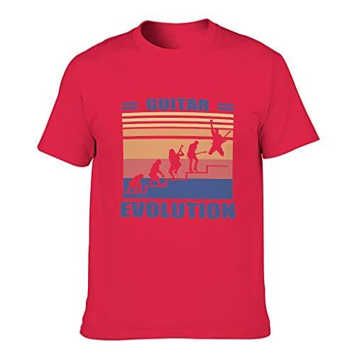 Lind88 Herren T-Shirt Gitarre Evolution Baumwolle - Lustiges Hobby Fashion Top Gr. XXXXX-Large, Rot1