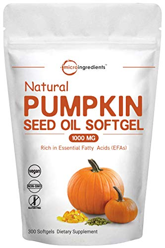 Maximum Strength Pumpkin Seeds Oil 2000mg Per Serving, 300 Liquid Softgels, Pumpkin Supplements, Strongly Supports Urinary, Bladder and Prostate Health, No GMOs and Vegan Friendly