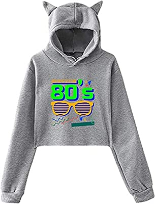 80s Graphic Grey Cats Ears Hoodie for Women