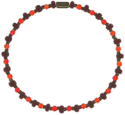Konplott: Armbändchen Petit Glamour d´Afrique red, feines flexibles Armband mit Glaskugeln und geschliffenen Kugeln in bordeauxrot, für Damen/Frauen
