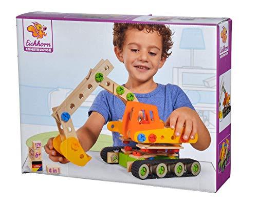 Eichhorn Constructor Raupenbagger, vielseitiges Holzspielzeug, 170 Bauteile, 4 verschiedene Konstruktionen, FSC 100% zertifiziertes Buchenholz, Hergestellt in Deutschland, für Kinder ab 6 Jahren
