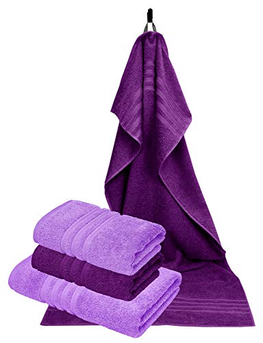 Lashuma 4 szt. ręczniki frotte liliowe, 2 x ręcznik sportowy 50 x 100 cm - 2 x ręcznik kąpielowy 70 x 140 cm, kolory: bzu i bakłażan