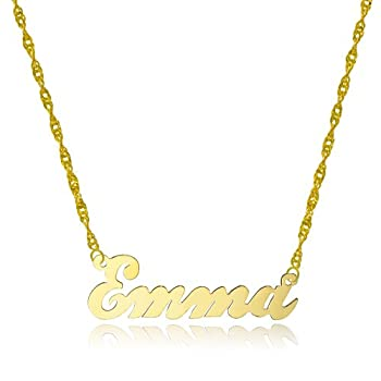 10k Yellow Gold Personalized Name Necklace - Style 4  16 Inches Singapore Chain