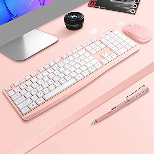 BoaInx Teclado Iluminado 2.4g Wireless Silent Gaming Keyboard y Set de ratón Adecuado para computadoras portátiles de Jugadores Teclado inalámbrico multilingüe (Color : Pink with Mouse)