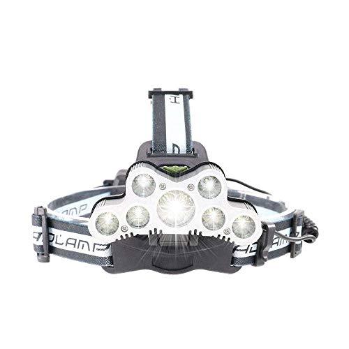 XIXIDIAN Faro LED, 7 lúmenes LED 9000 LUMENS 6 Modos con Cable USB Afilado LED Cabeza de antorcha Luz de Cabeza para Camping Pesca Reparación de automóviles Ciclismo al Aire Libre