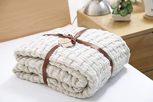 Coperta in 100% cotone, lavorata a maglia, coperta lavorata a mano, coperta per letto e divano, panca, sedia, 120 x 180 cm (beige)