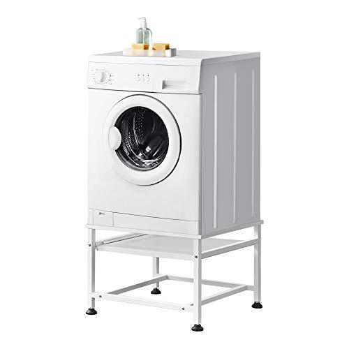 [en.casa] Waschmaschinen-Untergestell mit ausziehbarer Ablage max. bis 150kg Trockner Sockel Podest Stahl Unterschrank Erhöhung