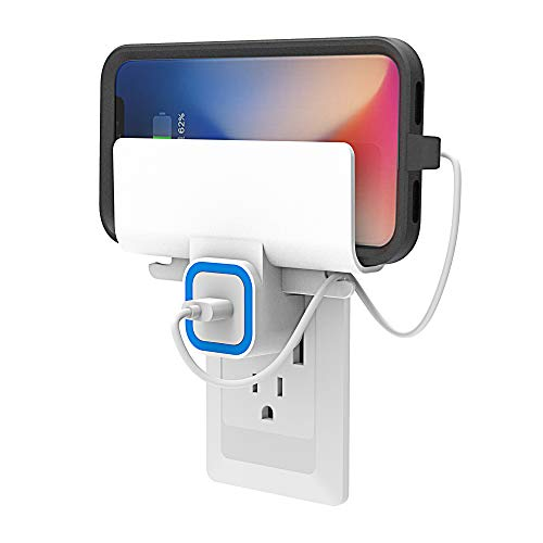 Wall Mount Charging Phone Holder for iPhone Charger, Wall Outlet Charging Shelf/Bracket, Don't Put Your Phone on The Ground or Wet Bathroom Countertop Any More