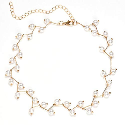 #N/V Faux Pearl Women Double Layers Choker Charm Fashion Clavicle Necklace