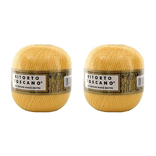 Número de 2 ovillos retorto Toscano 12, 100% puro algodón egipcio, mercerizado – 100 g = 904 m...