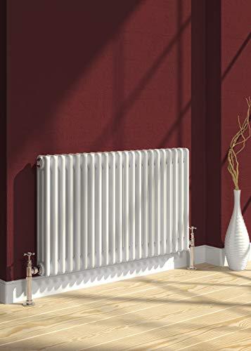 Reina - Radiador de calefacción central (hierro fundido, 3 columnas, horizontal, 500 x 785 mm), color blanco