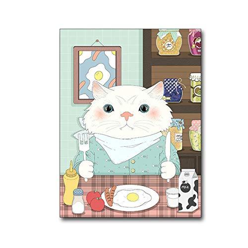 FXBSZ Cartel de pintura de arte de pared de animales de dibujos animados minimalista moderno y decoración de dormitorio de dormitorio infantil pintura de pared sin marco 40X50 cm Sin marco