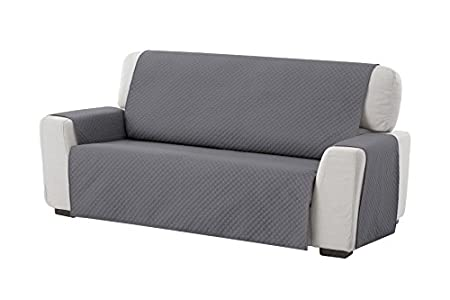 Textilhome - Funda Cubre Sofá Adele, 3 Plazas, Protector para Sofás Acolchado Reversible. Color Gris