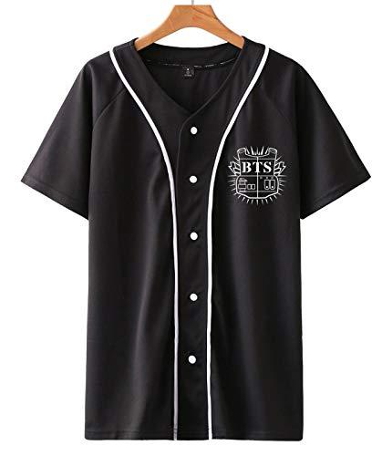 SIMYJOY Unisexo Korea Pop FansT-Shirt KPOP Hombres y Mujeres Botón Frontal Cool Camiseta De Béisbol Hip Hop Moda callejera Suga Jin Jimin Jung Kook J-Hope Rap-Monster V para niños y niñas.