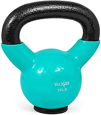 Yes4All Vinyl Coated Kettlebells – Weight Available: 5, 10, 15, 20, 25, 30, 35, 40, 45, 50 lbs (M. 10lbs - Rubber Base - Mint) by Yes4All
