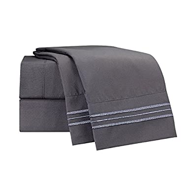 Clara Clark Bed Sheet Set - Brushed Microfiber Premier Collection 1800 Series 4 Piece Bed Set - Wrinkle & Fade Resistant, Hypoallergenic, King, Charcoal Gray