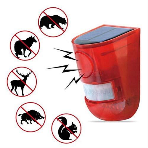 FGHSDGarten Outdoor Solarenergie Schädlingsbekämpfungsmittel Ultraschall-Schädlingsbekämpfer mit LED-Nachtlicht für Gopher Insect Animal Nagetier ControlRed