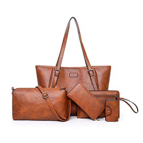 LargeLeather Tote Bag for Women Purses and Handbags Sets Shoulder Bags 5pcs (Y-Brown)