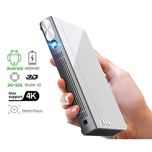 YDBET Mini 3D-Projektor P12, 300inch Smart Wi-Fi-Taschen Portable Video-Beamer, LED-DLP-Laser-Mobil-Projektor für Smartphone