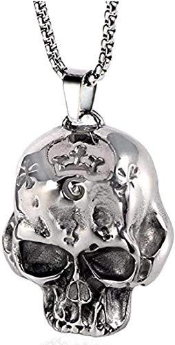 LKLFC Collar para Mujer Collar para Hombre Colgante Creativo de Acero Inoxidable joyería de Personalidad Calavera Acero de Titanio Hombres Collar Colgante Collar Colgante Regalo para niñas niños