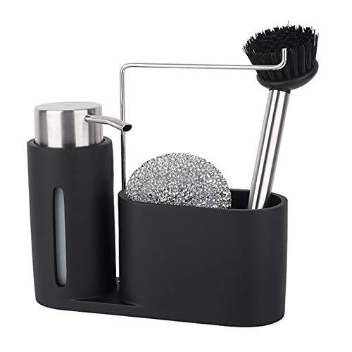 Dispensador de jabón Dispensador de jabón de mano líquido, botella de bomba del dispensador de líquido para lavavajillas con soporte de cepillo, para cocina y lavamanos de encimeras de baño Dispensado