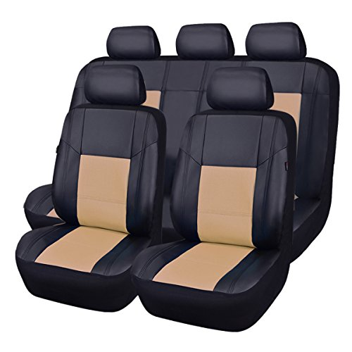 CAR PASS Skyline PU Leather CAR SEAT Covers - Universal FIT for Cars,SUV,Vehicles 5mm Composite Sponge Inside,Airbag Compatible (11PCS, Elegant Black with Beige)