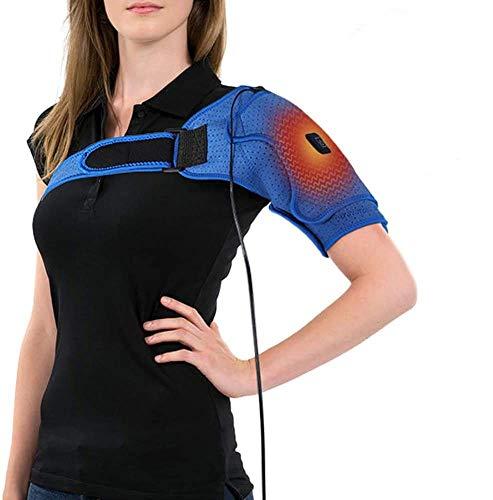 PINCOU Vendaje de hombro ajustable de neopreno, almohadilla de terapia de calor, cojín calefactor USB ajustable, hombros doblados, las roturas de los hombros, se adapta a hombres y mujeres