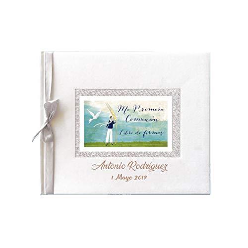 Libro de firmas para comunión color blanco con espiga PERSONALIZADO con grabado en la portada de nombre y fecha (niño)