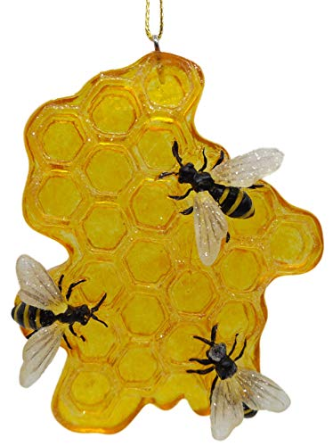 On Holiday Honeycomb with Worker Bees Christmas Tree Ornament