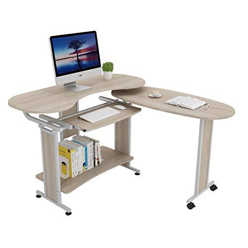 JiaQi Mesa plegable de doble mesa, plegable en ángulo, escritorio de ordenador, oficina, escritorio de gran capacidad con bandeja para teclado y estantería, 120 x 50 x 81 cm (47 x 20 x 32 pulgadas)