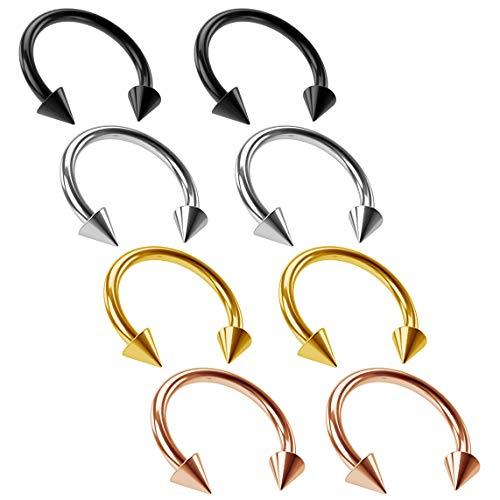 8pc 14g 1.6mm Horseshoe Bar Earrings Circular Barbell Ring 12mm Spike Black Rose Gold Auricle Cartilage Bar Tragus