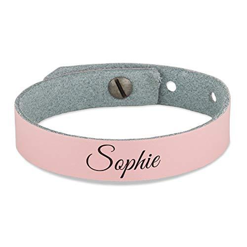 Leren armband voor meisjes graveren - Roze