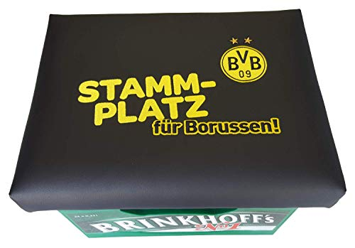 Der BVB Bierkastensitz Kissen Fanartikel Borussia Dortmund Bierkasten Sitz Sitzkissen Bierkasten Aufsatz Bierkiste für Stehtisch (Stammplatz)