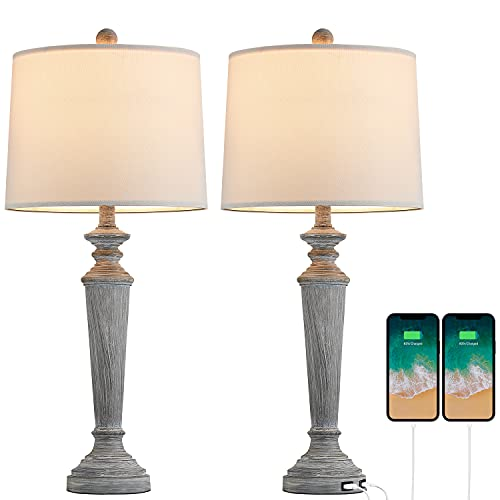 PORTRES 2 USB Table Lamp Set of 2 for Bedroom Desk Lamps for Living Room Study Room