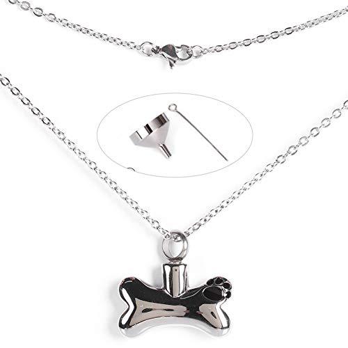 Pssopp Collar de urna de Perro Collar de Huesos de Perro conmemorativo Collar de urna para Mascotas Colgante de Ceniza conmemorativo Collar de urna Colgante Cremación Cenizas Joyería