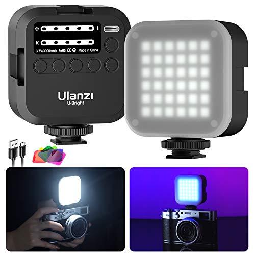 LED Videoleuchte Video Licht Kameralicht mit Softbox und 6 Farbfiltern, Minitragbares LED Kamera Licht mit 3000 mAh Wiederaufladbares 2700-6500K LED Licht für Kamera, CRI 95+ mit Cold Shoe