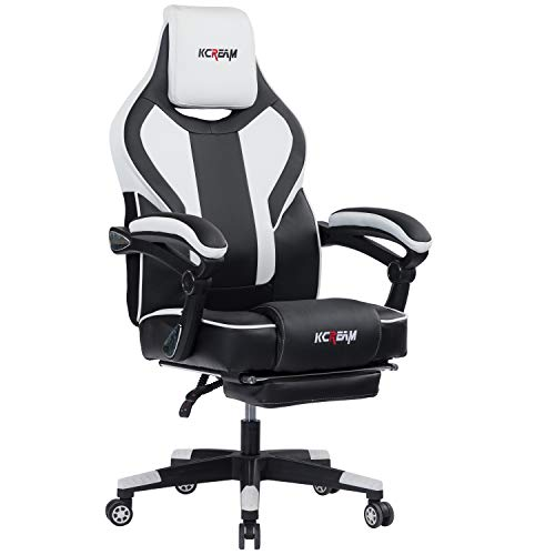 Kcream Gaming Stuhl mit Fußstützen Ergonomischer Bürostuhl PU-Leder Einstellbarer Neigungswinkel PC Stuhl Racing Computerstuhl (Weiß)