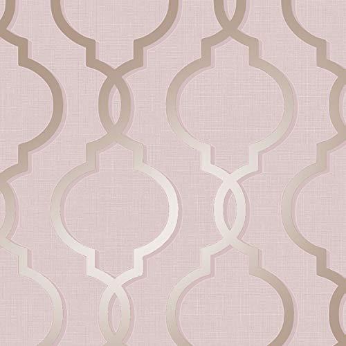 HOLDEN laticia Geometrisch Barock Muster Tapete metallische Glitzern texturiert - 65492 pink