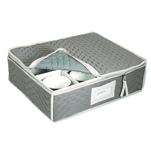 China Cup Storage Chest - Deluxe Quilted Microfiber (Light Gray) (13H x 15.5W x 5D)