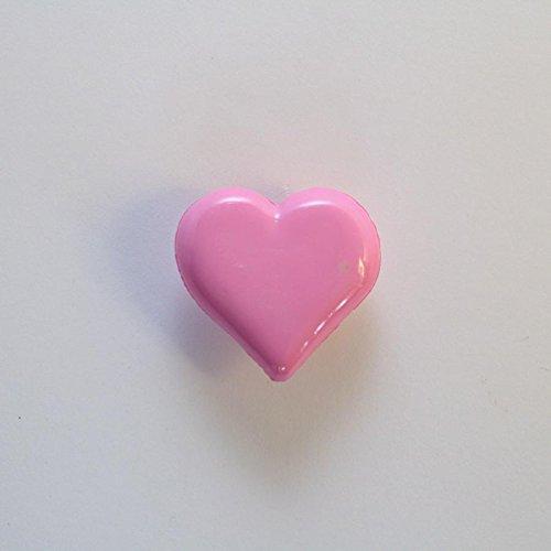 Lot de 10 x Boutons Coeur à Queue 15mm - Rose Bonbon