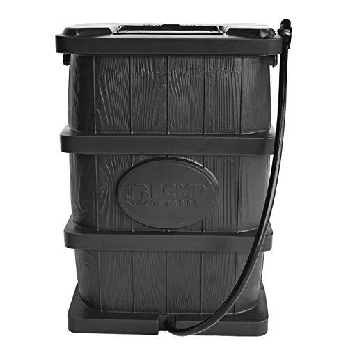 FCMP Outdoor WG4000-GRY Home Outdoor Large Wood Grain Rain Water Catcher Barrel, Grey