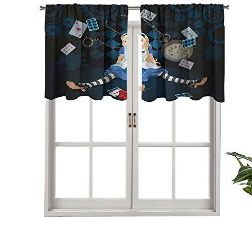 Hiiiman Cortinas cortas opacas con bolsillo para barra, tamaño adulto, Alicia sentada con tarjetas voladoras, juego de 2, cenefas pequeñas de media ventana de 137 x 61 cm para cocina
